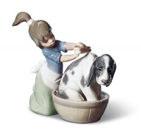 Bashful Bather Dog Figurine