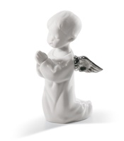 Angel Praying Angel Figurine. Silver Lustre