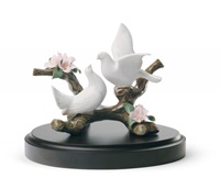 Doves on A Cherry Tree Figurine