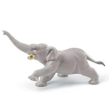 Baby Elephant with Yellow Flower Figurine