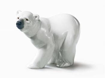 Attentive Polar Bear Figurine