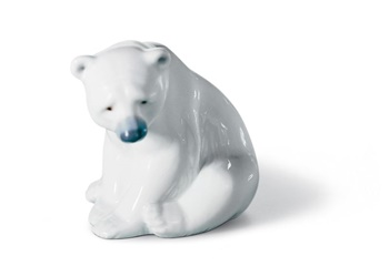 Seated Polar Bear Figurine