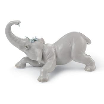 Baby Elephant with Blue Flower Figurine