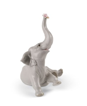 Baby Elephant with Pink Flower Figurine