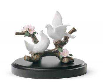 Doves on A Cherry Tree Figurine