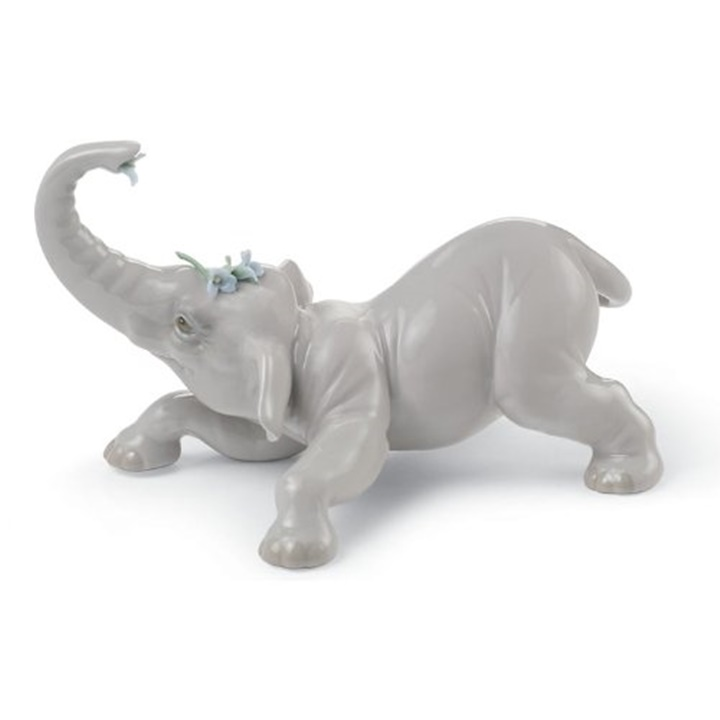 Baby Elephant with Blue Flower Figurine